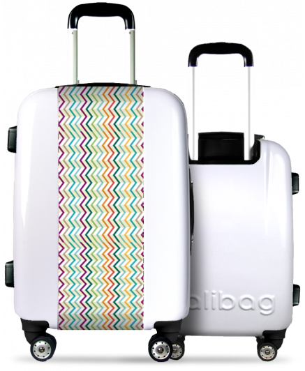 Valise Blanche Traits Multicolores