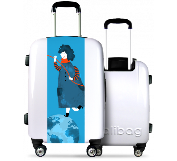 White Suitcase Girl On The World