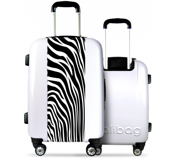 White Suitcase Zebra Stripes