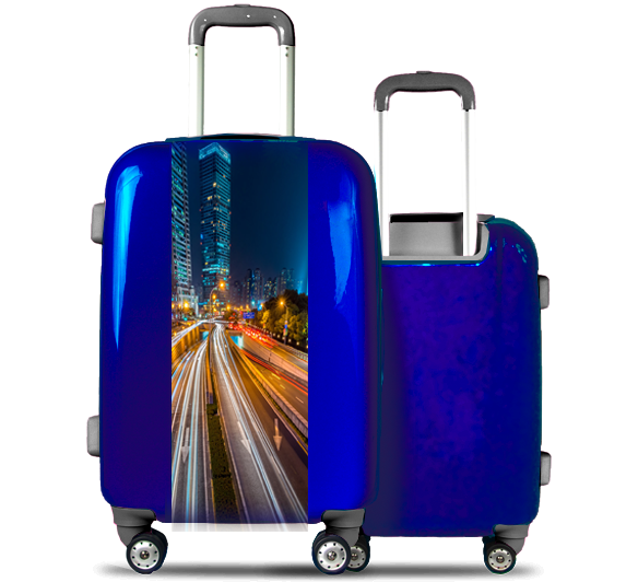 Blue Suitcase Illuminated City
