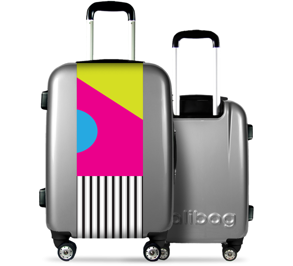 Grey Suitcase Colorful Geometry