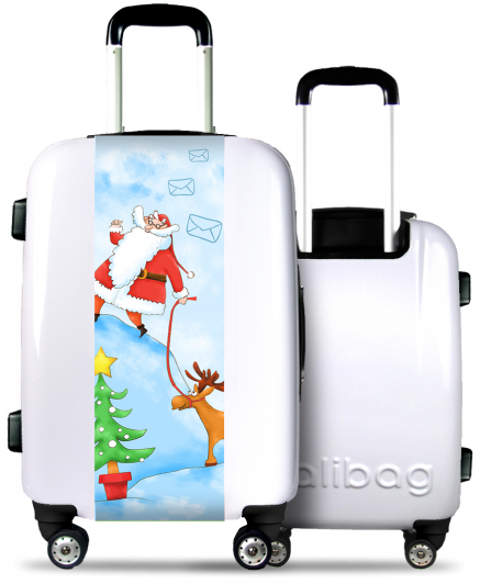 White Suitcase Santa Claus with his Reindeer