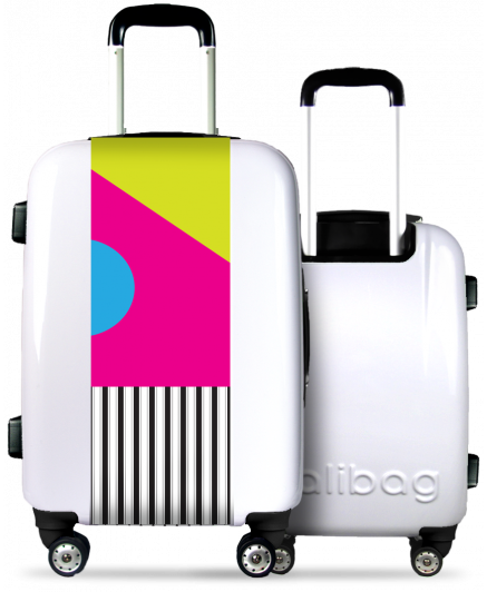 White Suitcase Colorful Geometry