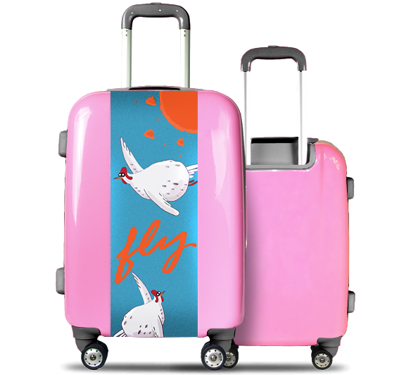 Pink Suitcase Flying Birds