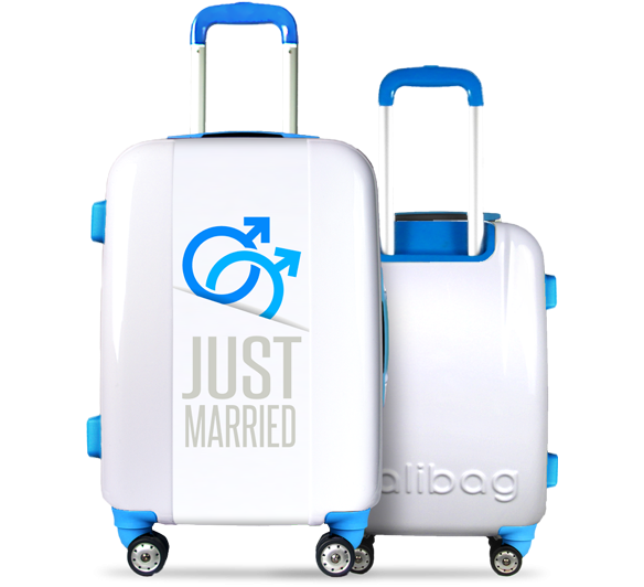 Valise blanche He's Just Married