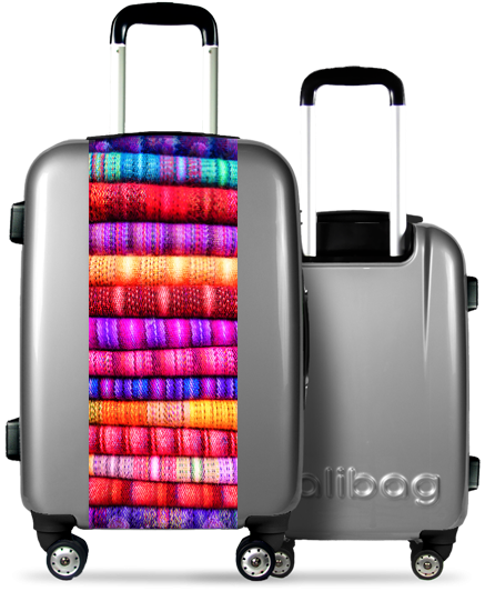 Valise Grise Toiles Multicolores