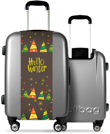 Grey Suitcase Multicolored Christmas Tree