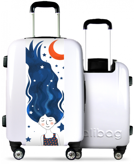 White Suitcase Dreamy Girl