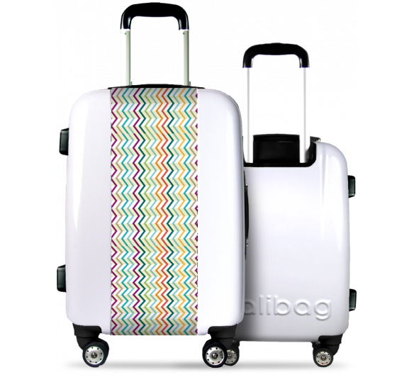 White Suitcase Multicolored Lines