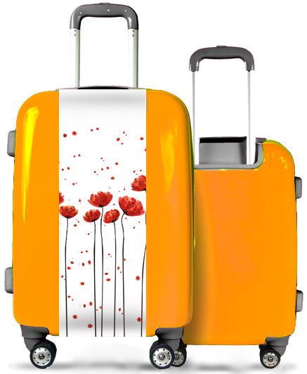 Valise Orange Grands Coquelicots