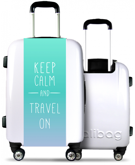"""Keep Calm and Travel On"" Suitcase"