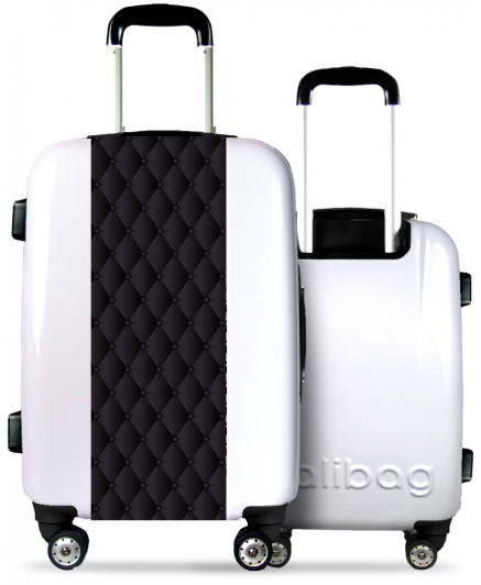 White Suitcase Quilted Effect