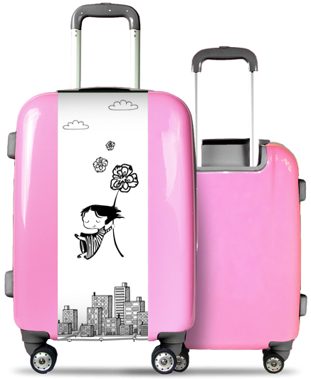 Pink Suitcase Flying Girl