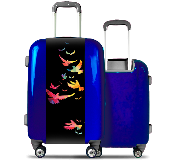 Blue Suitcase Multicolored Birds