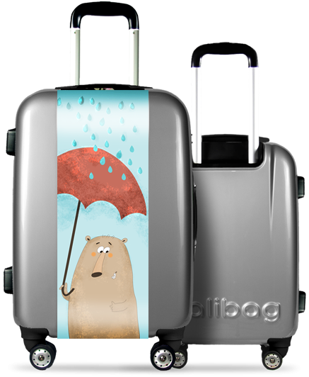 Grey Suitcase Funny Bear
