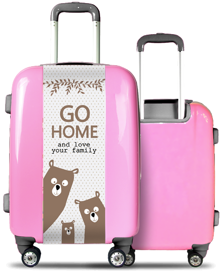 Valise Rose Famille Ours