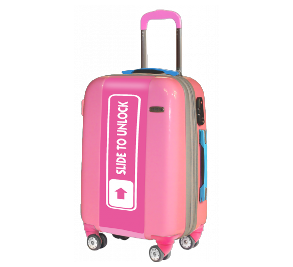 Pink Suitcase Slide to Unlock