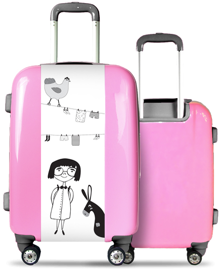 Pink Suitcase Girl and Animals