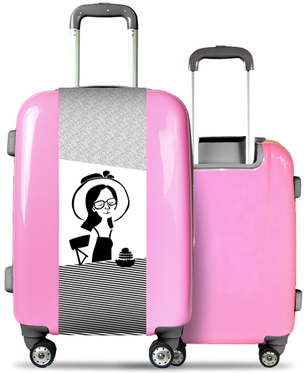 Pink Suitcase Woman with Hat