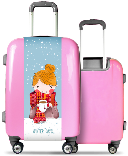 Pink Suitcase Winter Days
