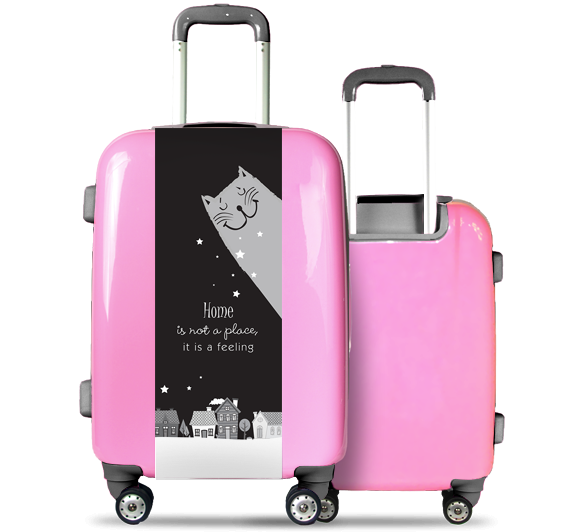 Pink Suitcase Cat and Houses