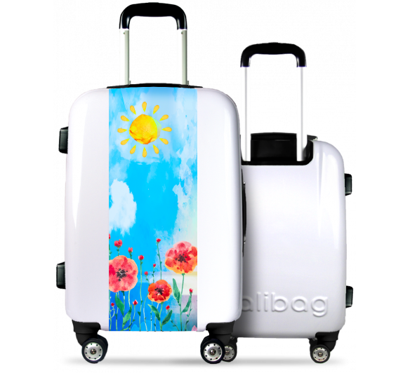 White Suitcase Watercolor Poppies