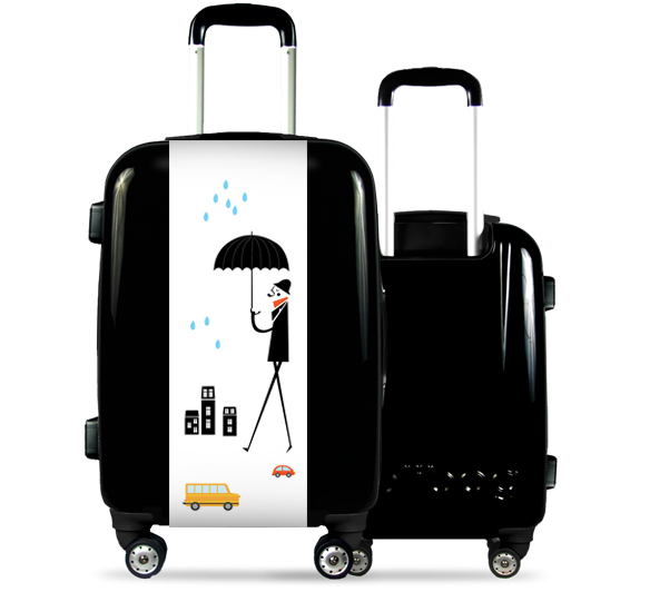 Black Suitcase Man with Umbrella