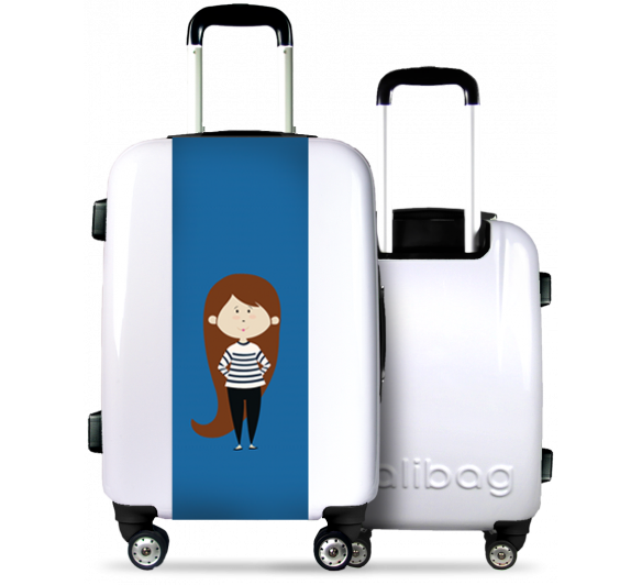 White Suitcase Girl with Striped Jersey