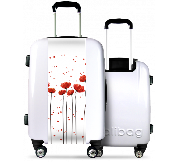 White Suitcase Big Poppies