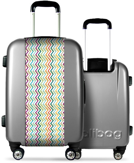 Valise Grise Traits Multicolores