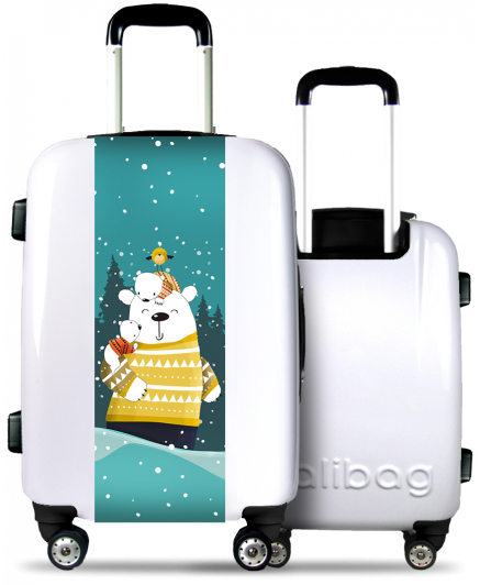 White Suitcase Bear Family Under the Snow