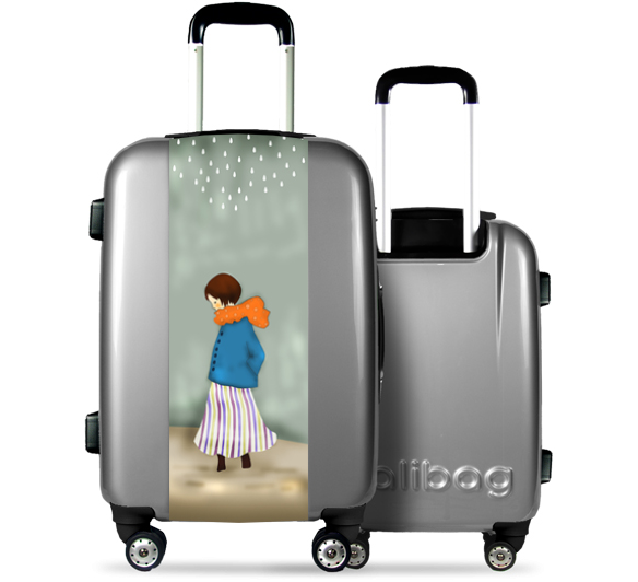Grey Suitcase Angelic Girl