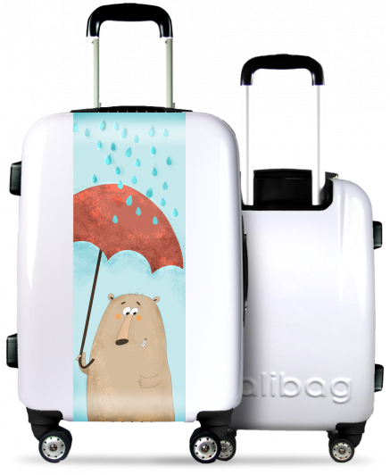 White Suitcase Funny Bear