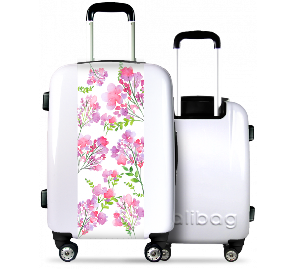 White Suitcase Pink Flowers