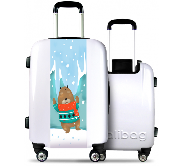 White Suitcase Bear under the Snow